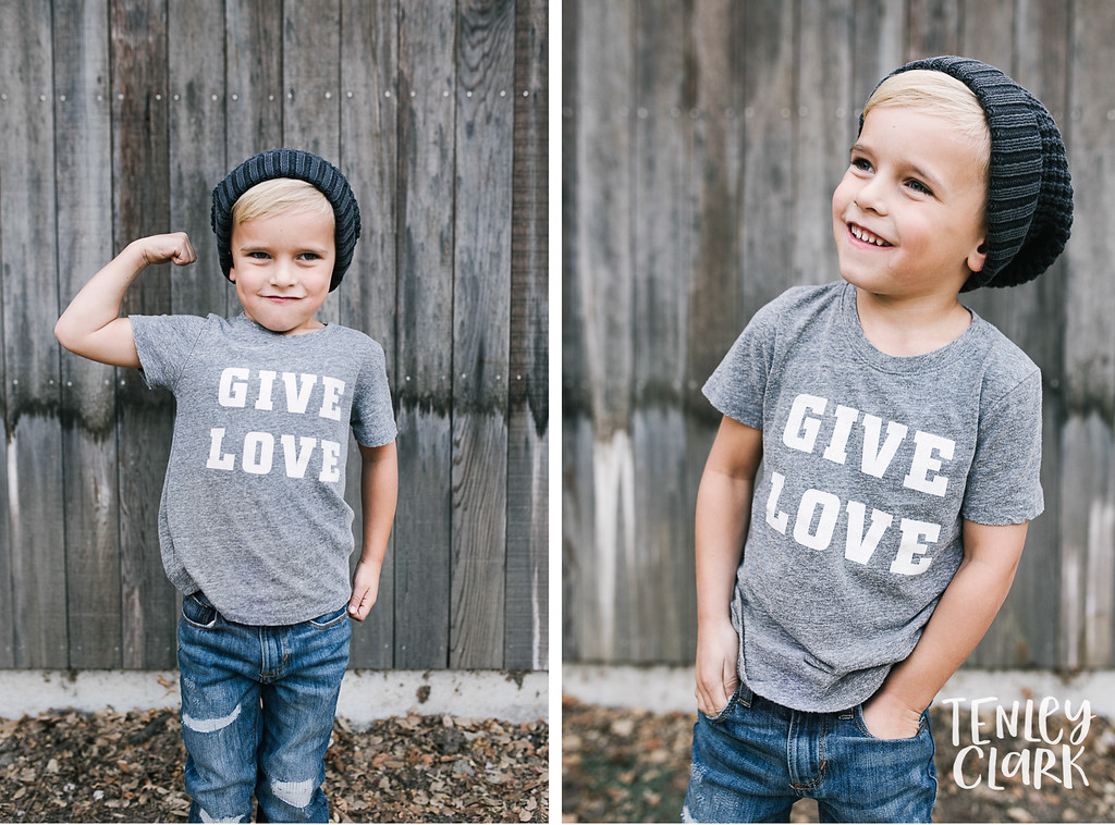 Give love tee. Playful kids fashion commercial brand shoot  for B+C California a kids t-shirt company in Bay Area by Tenley Clark Photography.