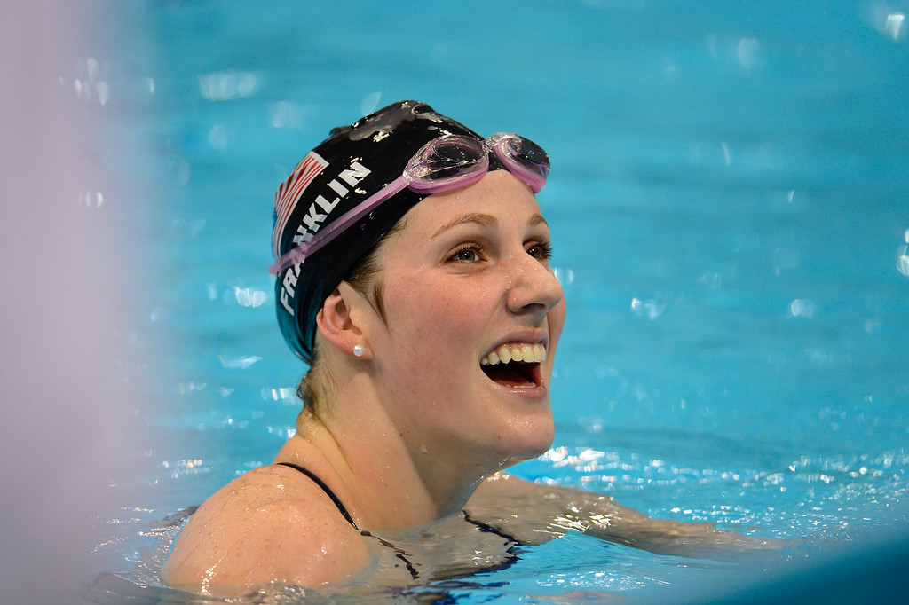 . Missy Franklin during warmups as she prepares for competition during swimming at the London 2012 Sumer Games.   John Leyba, The Denver Post