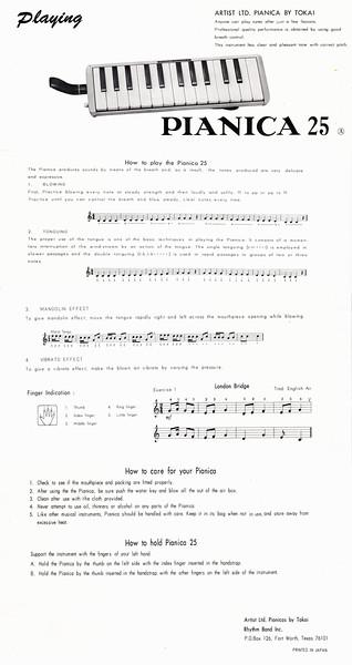 Tokai Artist LTD Pianica 25 brochure