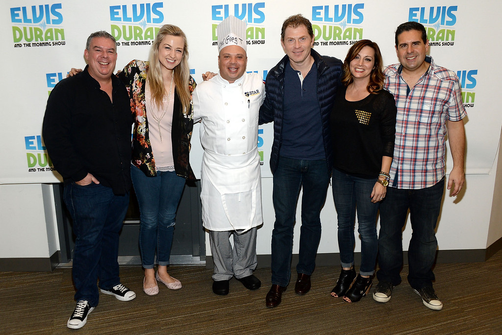 """. (L-R) Elvis Duran, Bethany Watson, Greg T, Bobby Flay, Danielle Monaro and Skeery Jones at the Elvis Duran Z100 Morning Show\"""" at Z100 Studio on November 25, 2014 in New York City.  (Photo by Ben Gabbe/Getty Images)"""