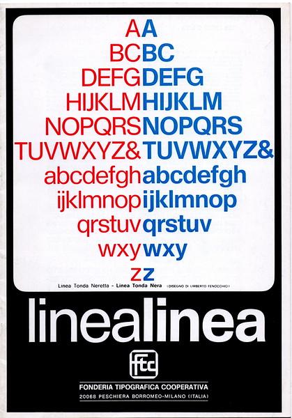Prospectus of Linea, a type designed by Umberto Fenocchio. 1970s.