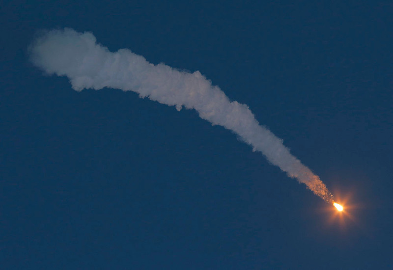 . The Soyuz-FG rocket booster with Soyuz TMA-07M space ship transporting U.S. astronaut Thomas Marshburn, Russian cosmonaut Roman Romanenko and Canadian astronaut Chris Hadfield heads to the International Space Station after blasting off from the Russian leased Baikonur cosmodrome, Kazakhstan, Wednesday, Dec. 19, 2012. (AP Photo/Dmitry Lovetsky)