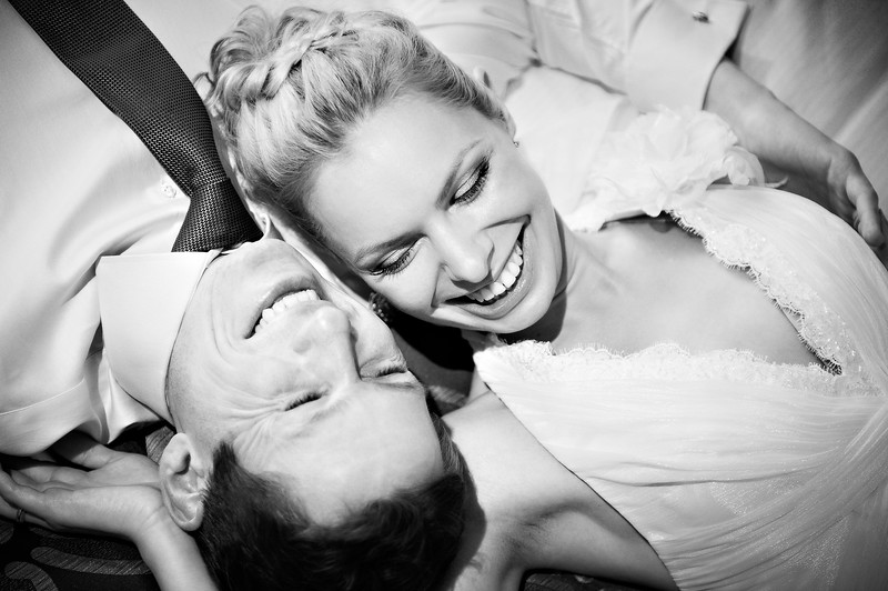 Happy bride and groom black and white