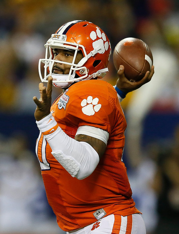 . Tajh Boyd #10 of the Clemson Tigers passes against the LSU Tigers during the 2012 Chick-fil-A Bowl at Georgia Dome on December 31, 2012 in Atlanta, Georgia.  (Photo by Kevin C. Cox/Getty Images)
