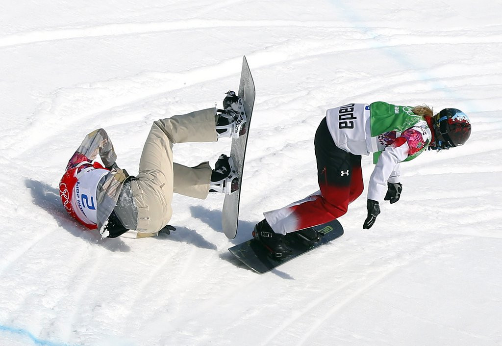 . <p><b>24. LINDSEY JACOBELLIS </b> <p>U.S. snowboarder assumes her usual Olympic position: prone. <p>   (AP Photo/Sergei Grits)