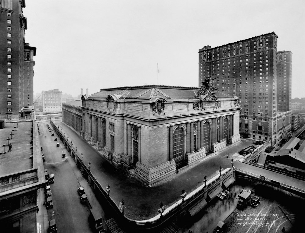 Description of . An exterior view of Grand Central Station terminal in this undated handout photo. It made its debut in the heyday of cross-country train travel, faced demolition in the era of the auto, and got a new lease on life with a facelift in its eighth decade. Now Grand Central Terminal, the doyenne of American train stations, is celebrating its 100th birthday. Opened on Feb. 2, 1913, when trains were a luxurious means of traveling across America, the iconic New York landmark with its Beaux-Arts facade is an architectural gem, and still one of America's greatest transportation hubs. REUTERS/Corbis/Handout