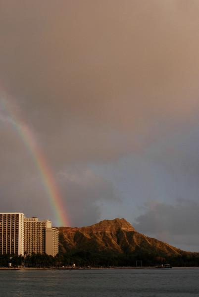 Rainbow in the afternoon over Diamond Head  Waikiki, O'ahu, Hawai'i