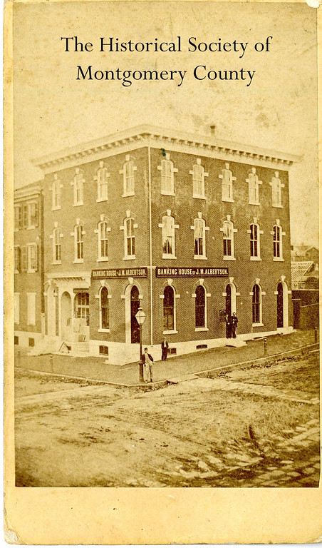 . This 19th century photograph from the Historical Society of Montgomery County shows Albertson Trust and Savings Deposit Company, which was at the northwest corner of Main and Swede streets in Norristown.