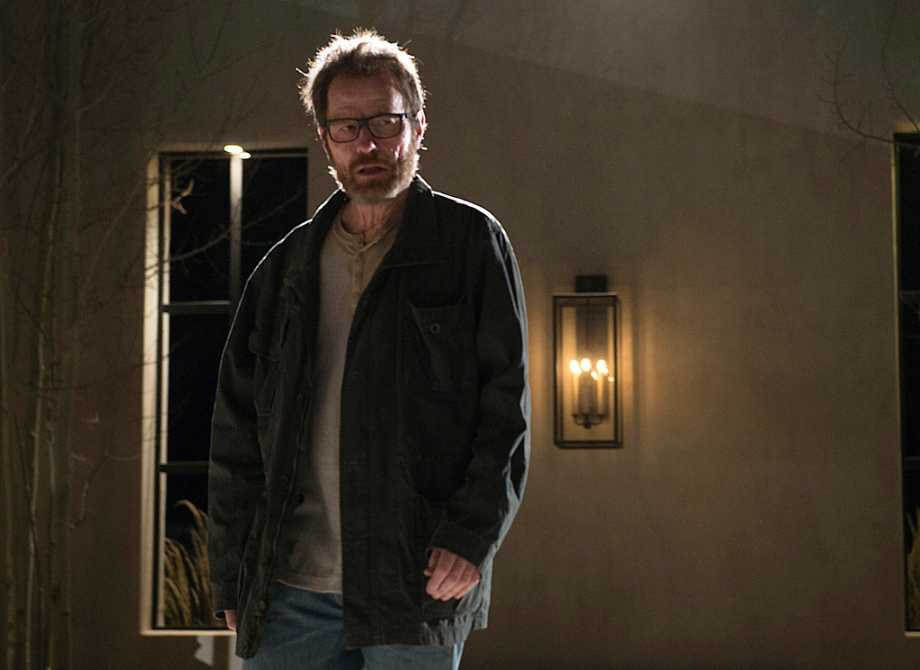 """. This image released by AMC shows Bryan Cranston as Walter White in a scene from the series finale of \""""Breaking Bad.\"""" Cranston was nominated for an Emmy Award for best actor in a drama series on Thursday, July 10, 2014, for his role as Walter White. The 66th Primetime Emmy Awards will be presented Aug. 25 at the Nokia Theatre in Los Angeles. (AP Photo/AMC, Ursula Coyote, file)"""