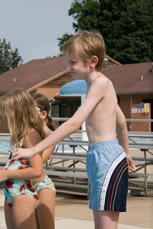 Daniel, Merrick, Elora swim lessons August 7, 2012