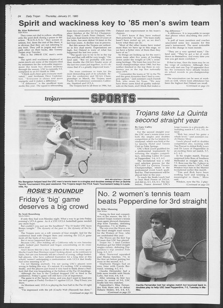 Daily Trojan, Vol. 98, No. 15, January 31, 1985