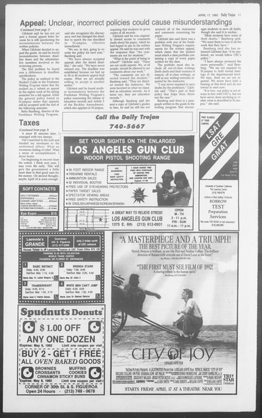 Daily Trojan, Vol. 117, No. 59, April 17, 1992