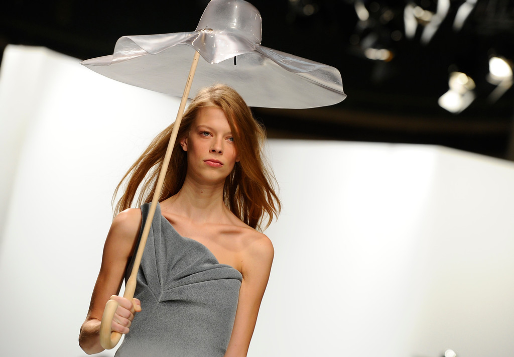 . A model wears a creation for Chalayan\'s ready-to-wear Spring/Summer 2014 fashion collection, presented in Paris, Friday, Sept.27, 2013. (AP Photo/Zacharie Scheurer)