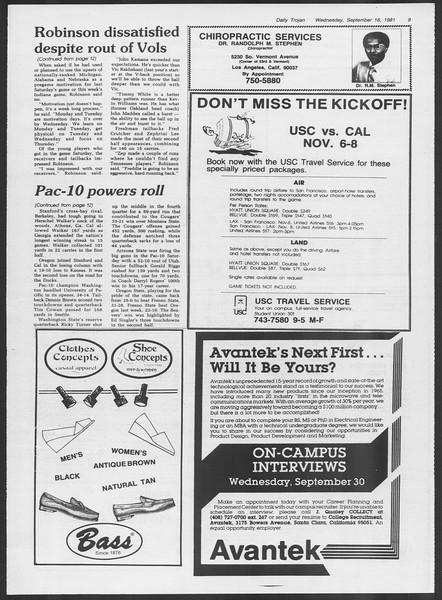 Daily Trojan, Vol. 91, No. 11, September 16, 1981