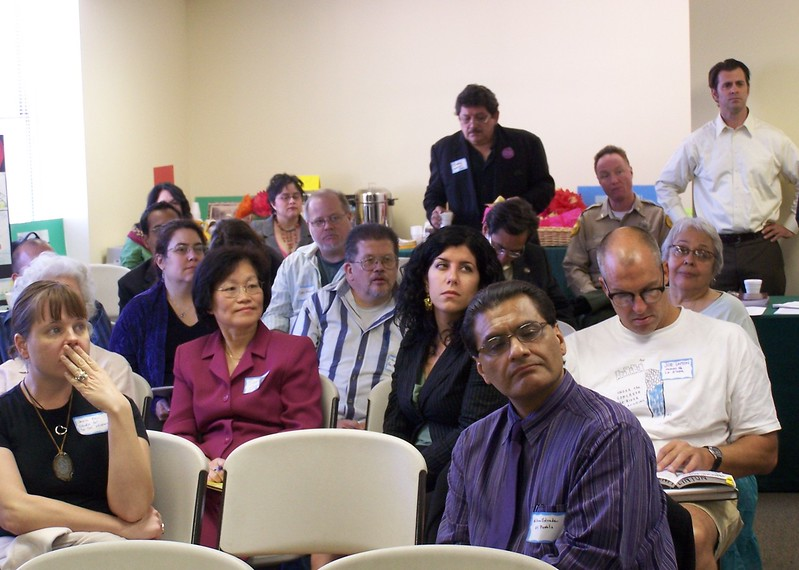 One of the public meetings and community work sessions to enable dialog and input about the Los Angeles State Historic Park's Interpretive Master Plan.Standing in the back, in white shirt, is Sean Woods.