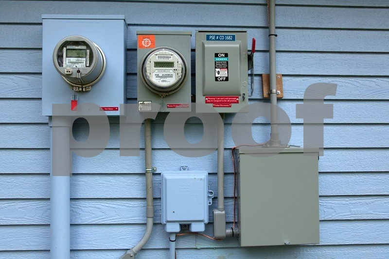 Meters installed after 30 solar panels were installed on home residence tracks electricity generated.