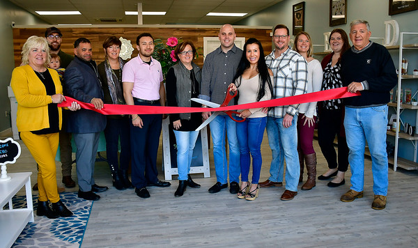 10/26/2019 Mike Orazzi | StaffrThe ribbon cutting during the opening of the Your CBD Store on Route 6 in Bristol on Saturday morning.