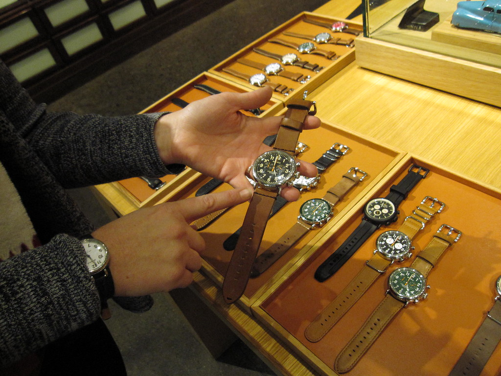 . This Dec. 2, 2014 photo shows a display of watches at the Shinola store in Detroit�s Midtown neighborhood. The luxury watch line launched in 2013. The company chose to base the brand in Detroit as a way of identifying with the city�s strong manufacturing heritage. (AP Photo/Beth J. Harpaz)