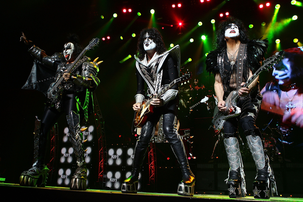 . KISS perform live on stage as part of their Monster Tour with Motley Crue and Thin Lizzy at Perth Arena on February 28, 2013 in Perth, Australia.  (Photo by Paul Kane/Getty Images)
