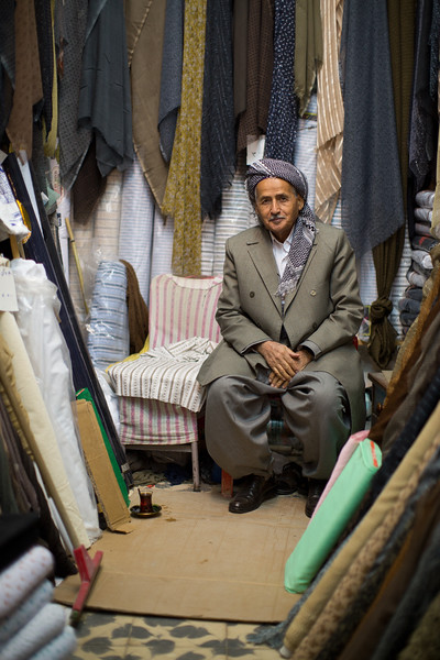 A tailor in his shop at Erbil souq.