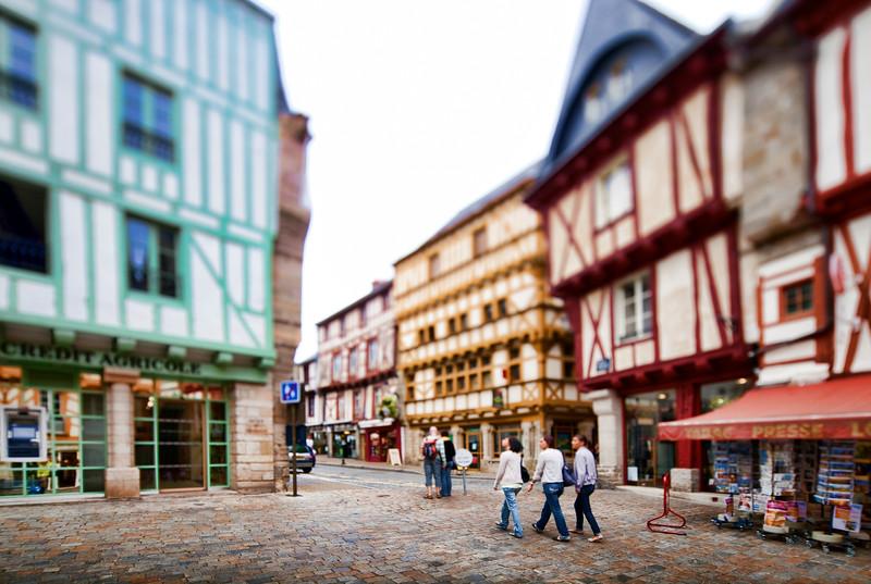 Henry IV square, town of Vannes, departament de Morbihan, Brittany, France. Tilted lens used for shallower depth of field