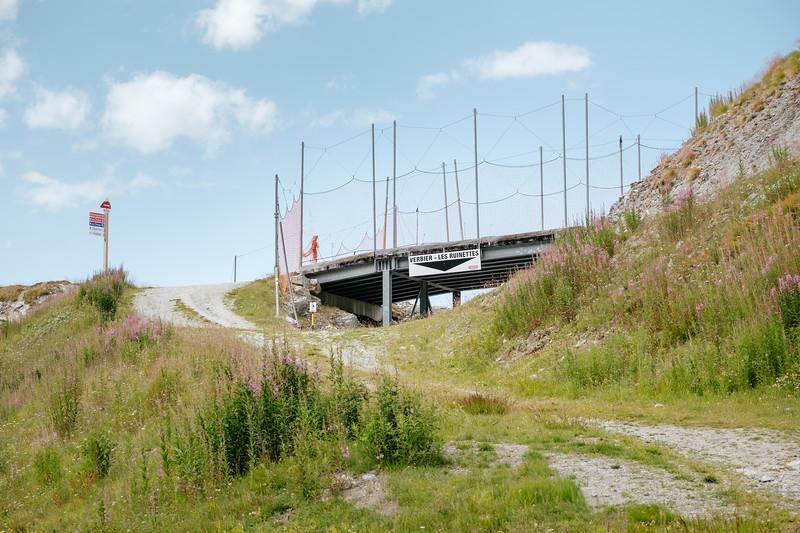 Bridge over a ski slope in Fontanet, Verbier