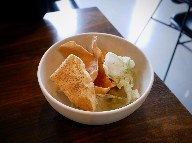 Amass: vegetable chips made with leftover trimmings from prep to avoid food waste