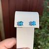 3.47ctw Blue Zircon Hexagon Stud Earrings 13