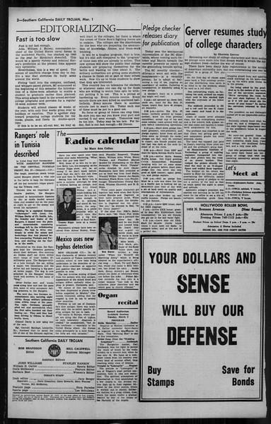 Daily Trojan, Vol. 34, No. 94, March 01, 1943