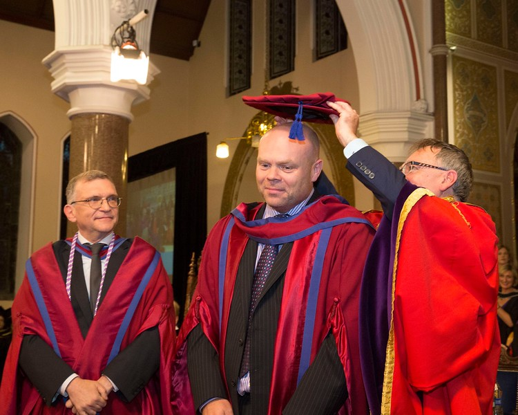 28/10/2015 Image Free to Use. Conferring at Waterford Institute of Technology, Mark White from Waterford receiving his Doctor of Philosophy from Prof Willie Donnelly President WIT. Photo; Mary Browne