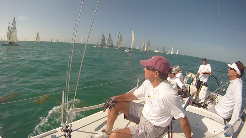 Travis, Jon, John, Lud and John watching the Melges 32/24 stars before ours.