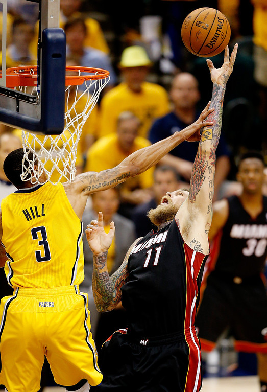. Chris Andersen #11 of the Miami Heat goes up for a basket as George Hill #3 of the Indiana Pacers defends during Game Two of the Eastern Conference Finals of the 2014 NBA Playoffs at at Bankers Life Fieldhouse on May 20, 2014 in Indianapolis, Indiana.   (Photo by Joe Robbins/Getty Images)