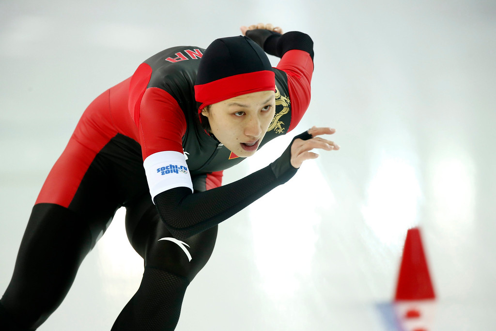 . Hong Zhang of China in action during the 1000m Women\'s  Speed Skating event in the Adler Arena at the Sochi 2014 Olympic Games, Sochi, Russia, 13 February 2014.  EPA/VINCENT JANNINK