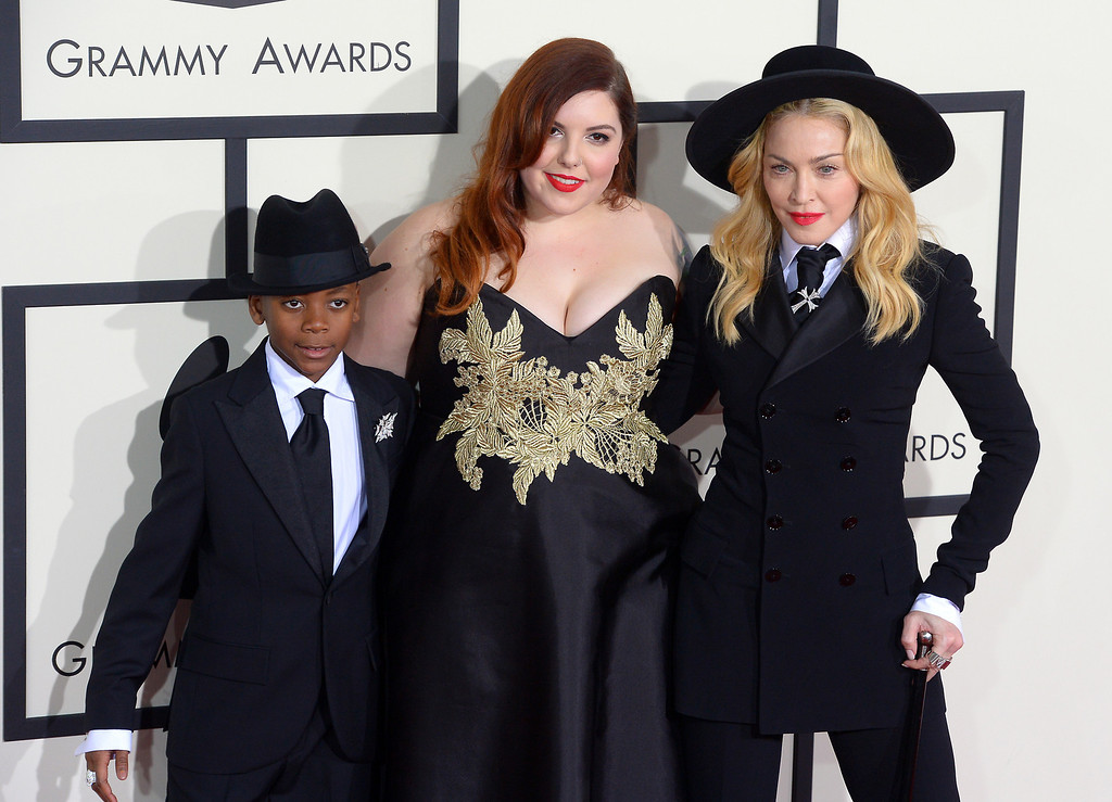 . David Banda, Mary Lambert  and Madonna arrive at the 56th Annual GRAMMY Awards at Staples Center in Los Angeles, California on Sunday January 26, 2014 (Photo by David Crane / Los Angeles Daily News)