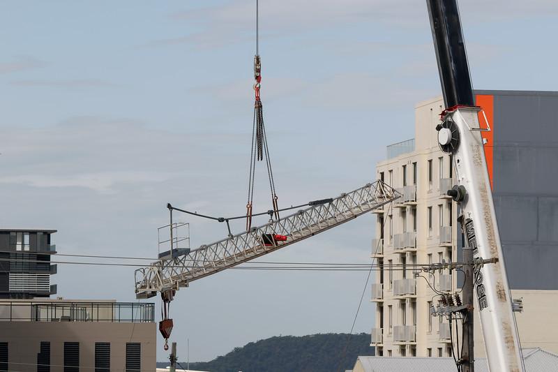 Construction crane removal. Update ed308 . Gosford. April 9, 2019.