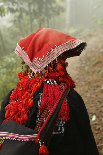 Red Dao ornamented head dress - beautiful.