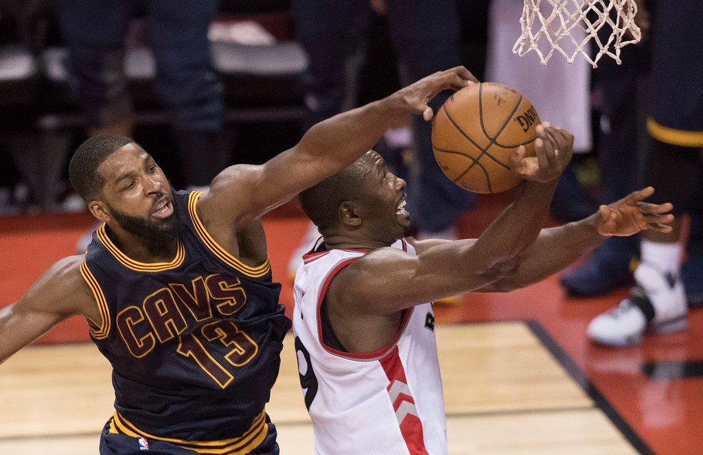 . Cleveland Cavaliers centre Tristan Thompson (13) blocks Toronto Raptors forward Serge Ibaka (9) during the second half of Game 3 of an NBA basketball second-round playoff series in Toronto on Friday, May 5, 2017. (Fred Thornhill/The Canadian Press via AP)