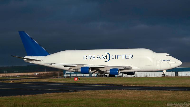 N780BA. Boeing Company Boeing 747-400(LCF) Dreamlifter. Boeing. Prestwick. 231207.