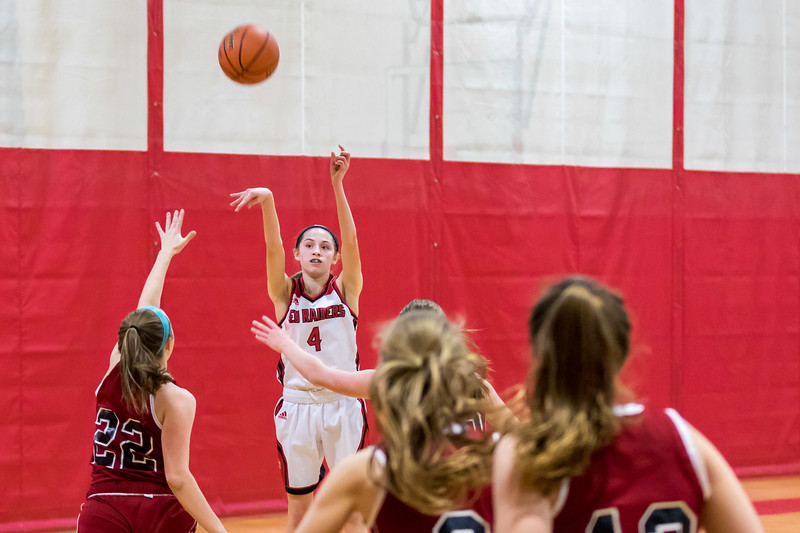 Spaulding Freshman Abby Ward, 4, sinks a game winning 3 point shot against Concord during DIV I action Friday in Rochester. [Scott Patterson/Fosters.com]