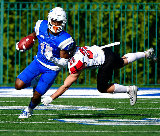 11/9/2019 Mike Orazzi | StaffrCCSU's Dextor Lawson (10) Saturday against Saint Francis in New Britain.