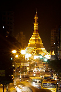 The Sule Paya roundabout at night in Yangon, Burma (Myanmar)