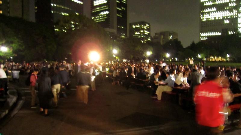 Oktoberfest resides in Hibiya Fest for one week.  We had 15 people from work enjoying German Beer and Brat.