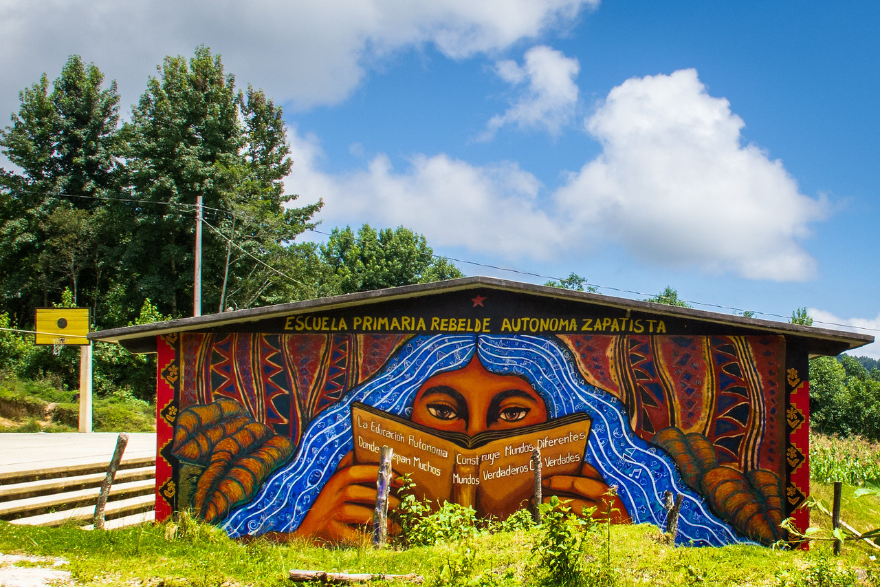 Zapatista Mural on the School in Oventic