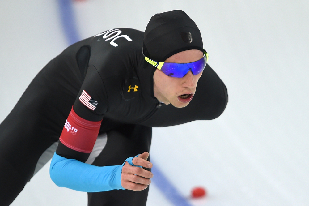 . US Patrick Meet competes in the Men\'s Speed Skating 10000 m at the Adler Arena during the Sochi Winter Olympics on February 18, 2014. (DAMIEN MEYER/AFP/Getty Images)