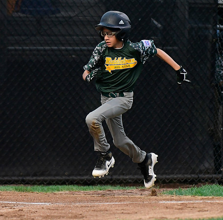 8/10/2018 Mike Orazzi | Staff New Jersey's Jason Quardt (16) during the Eastern Regional Little League Tournament at Breen Field in Bristol Friday night.