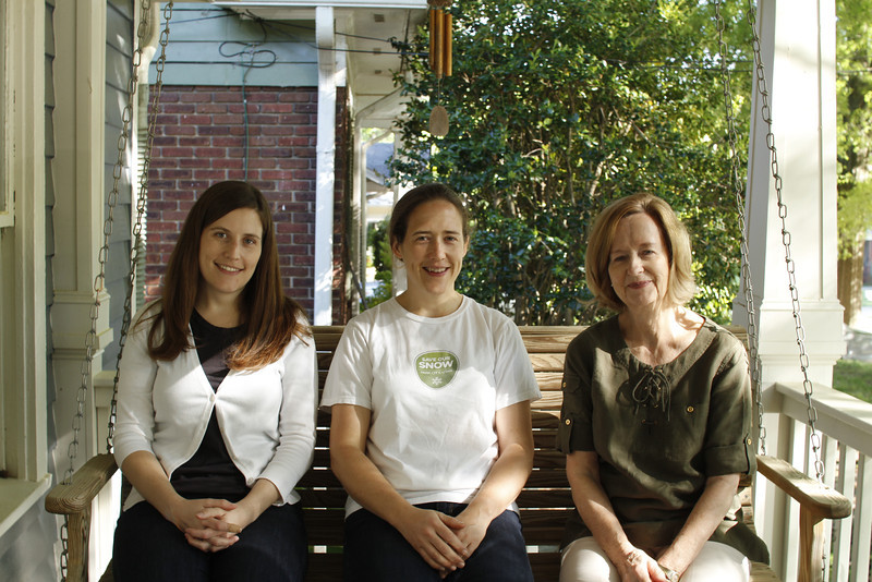 Lauren, Anne, Mary Anne on Anne's porch swing 5/13