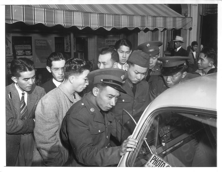 """San Francisco Japanese Face Crisis"" -- caption on photograph"