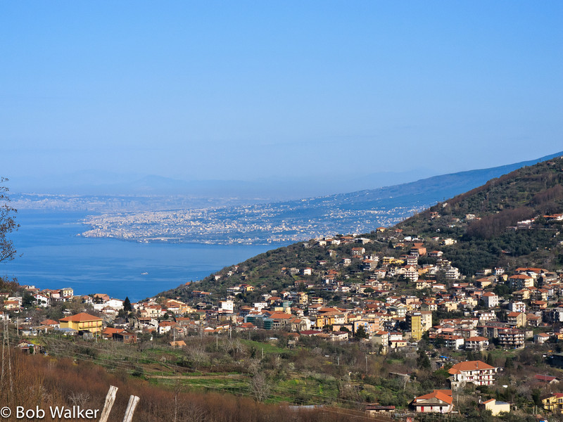 Starting our journey to Rome, driving to Naples rail station. Good view of Naples area in the background