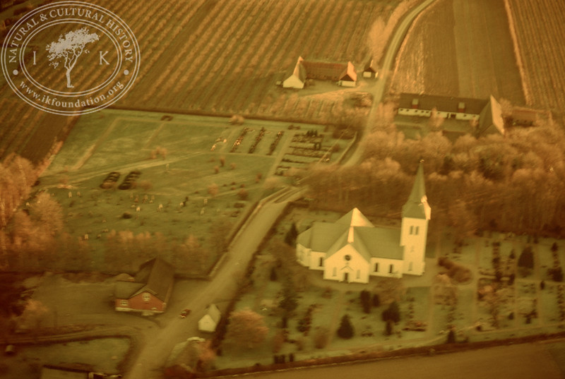 Södra Mellby church. Experimentally photographed with yellow filter (20 November, 1988).   LH.0277