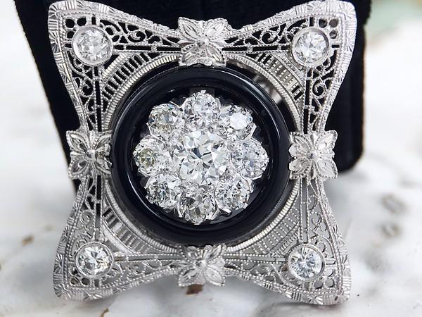 Art Deco Old European Cut Diamond and Onyx Pendant